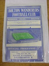 24/04/1964 Bolton Wanderers v Wolverhampton Wanderers  . Good condition unless p