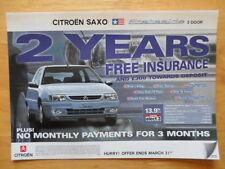 CITROEN SAXO Stateside 3 e 5 porte 1998 Regno Unito delle vendite sul mercato opuscolo