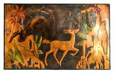 Vintage Deco Jungle Panther Tropical Scene Embossed Copper Signed Art E. Kaufman