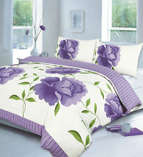 Rose Lilac Floral Duvet Quilt Cover Set With Pillow Cases Single Sized Bedding