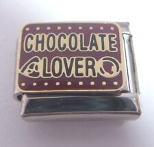 CHOCOLATE LOVER Italian Charm - I Love fits 9mm Classic Starter Braceletrs Brown