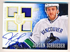 2013-14 Panini Prime Jordan Schroeder Quad Fight Strap Jersey Patch Auto Rc /25