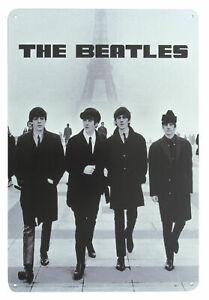 The Beatles WALKING IN PARIS Metal Wall Sign Steel Plaque Bar Gift (20cm x 30cm)