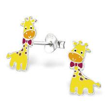 Sterling Silver 925 Cute Colourful Giraffe Stud Earrings