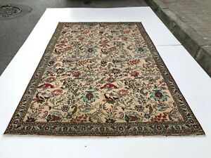 Floral Peach Turkish Antique Rug Lowpile Distressed Oushak Rug Animal Motives