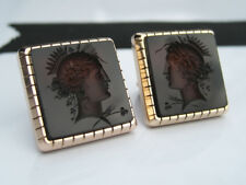 Antique Victorian 14K Yellow Gold Red Carnelian Intaglio Cameo Cufflinks Buttons
