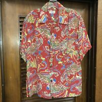 "VINTAGE 1940'S ""POI POUNDER TOGS"" CARTOON NATIVES RAYON HAWAIIAN SHIRT - M"