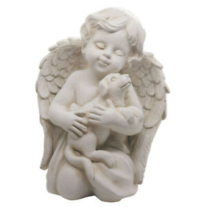 """Angel with Dog Statue Pet Dog Memorial Statue Rememberance Dog Puppy Figurine 7"""""""