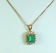 Colombian Emerald & Diamond Pendant 1.55 CTW Square Shape 14K Yellow Gold  Muzo