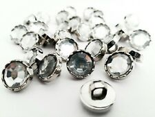 30Pcs 10mm Acrylic Rhinestone Antique Silver Back Sewing Shank Buttons