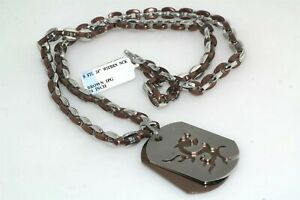 """Steel Nation Jewelry Stainless Steel Dragon Tag 24"""" Necklace Chain Copper 2 Tone"""