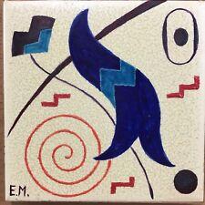 Rare Eugenia Miller Brajnikov 1960's Hand Painted Abstract Ceramic Tile