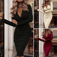 UK Women Sexy Knitted Long Sleeve Slim Bodycon Party Jumper Midi Dress Plus Size