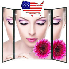 (EU) 3 Way Mirror Tri-Fold Lighted LED Mirror Lighted Makeup Mirror Travel