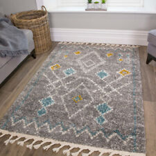 Boho Grey, Duck Egg, Mustard Hygge Shaggy Rugs Quality Budget Thick Hearth Rugn