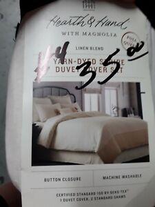 Hearth & Hand Magnolia Linen Blend Yarn Dyed Stripe Duvet Cover Set Full/Queen