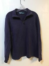 Polo Ralph Lauren Mens 1/4 Zip Pullover Sz Medium Sweater Rib Knit Cotton Purple