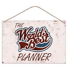 Los mundos Mejor Planificador-Aspecto Vintage Signo De Placa De Metal Grande 30x20cm