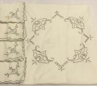 VTG Embroidered Cut Work Scalloped Ivory? Tablecloth Napkins Farmhouse Chic Deco
