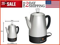 Electric Coffee Percolator Stainless Steel Coffee Maker Electric Pot 10 cups NEW