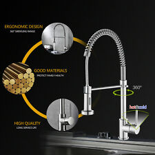 Kitchen Faucet Pull Down Swivel Sprayer Single Hole Mixer Tap Brushed Nickel