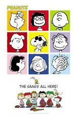 PEANUTS ~ THE GANGS ALL HERE! 9 PICS ~ 27x40 CARTOON POSTER Snoopy Charlie Brown