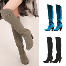 Sexy Women Over The Knee Long Boots Faux Suede Slip On High Heel Slim Shoes Size
