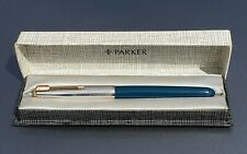 PARKER 51 AEROMETRIC TEAL BLUE ROLLED SILVER CAP MEDIUM NIB CASE FULLY TESTED