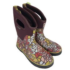 NEW BOGS Boots Women's 8 Snow Rain Rubber Classic Mid Vintage Floral Burgundy