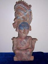 PRE COLUMBIAN STYLE TERRA COTTA TRIBAL FIGURE TURQUOISE HEADDRESS AZTEC MEXICO