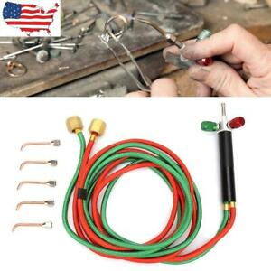Red & Green Twin Welding Torch Hose Oxygen Acetylene Oxy for Cutting W/ 5 Tips