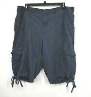 Izod Womens Medium Blue Tie Leg Slash & Button Pockets Linen Bermuda Shorts 14