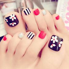 24pcs Artificial Fake Toe False Nails Flower False Nail Tips For Summer Holiday