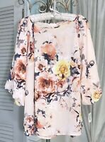NEW Plus Size 1X Pink Blush Peach Blouse Crepe Top Floral Shirt
