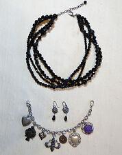 Jewely Lot Black Glass Bead Choker Fleur De Lis Charm Bracelet Silver Earrings
