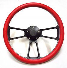 Hot Rod Street Rod Rat Rod Truck Red & PBK Black Billet Steering Wheel & Horn