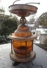 Antique Copper Porch Lamp Amber Globe