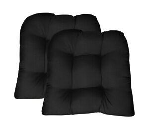 Outdoor Seat Cushions Sunbrella Set of 2 Black Tufted U-Shape 20 in x 21 in x 4