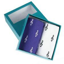 Blue & White Music Note Handkerchief Gift Set (66-HR-28)