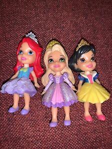 "Lot Of 3 Disney Princess Figures- Ariel, Rapunzel, Snow White- 3"" Tall"