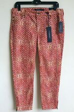 LIVERPOOL JEANS COMPANY $89 Cropped Red Jeans 29 Colored Denim Pants Zipper Hem