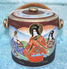 VINTAGE Giapponese SATSUMA porcellana Scatola per biscotti con manico in vimini.