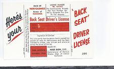 Back Seat Driver's License     Unused  Humor  Laff Gram Postcard 654