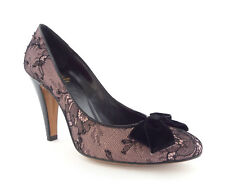 MOSCHINO Size 8 Purple & Black Lace Heels Pumps Shoes w/ Bow 38 1/2
