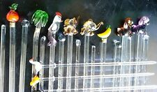 Vintage Set Of 24 Exquiste Hand Made Glass Mixers & Food Picks.