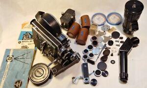 Vintage Bolex H16 16mm Reflex camera w/ 4 lenses, accessories & manuals