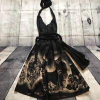AllSaints True Vintage 100% Pure Silk Black Beige Halter Neck Dress 8 Backless