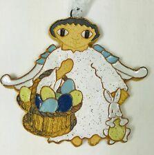"St. Andrews Abbey Easter Basket Angel Handmade Ceramic Ornament Wall Decor 4"""
