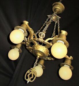 ANTIQUE  circa 1930 SPANISH REVIVAL CEILING CHANDELIER LIGHT FIXTURE