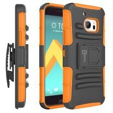 For HTC 10 Belt Clip Case Neon Orange / Black Holster Hybrid Phone Cover